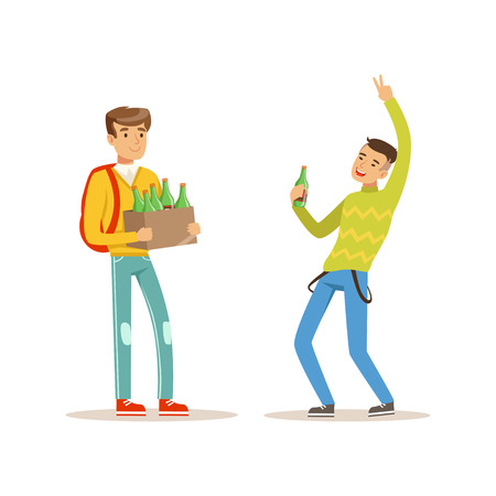 Boy came to party with box of alcoholic drinks. Drunk teen dancing with bottle of beer in hand. Teenagers celebrating holiday. Isolated flat vector