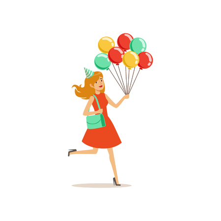 Young pretty girl with multicolored balloons hurry to birthday party. Cartoon woman character in red dress with turquoise handbag. Isolated flat vector