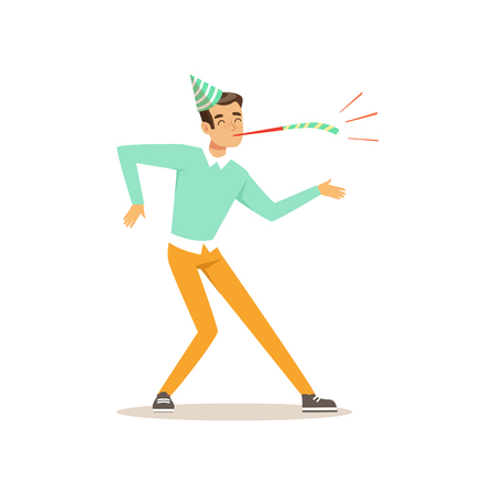 Funny young man dancing at birthday party. Cartoon dancer character with festive cap and pipe. Dressed in blue sweater and yellow pants. Flat vector design Illustration