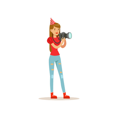 Professional girl photographer taking pictures during birthday party. Young woman in festive cap, blouse and jeans. Isolated flat vector design