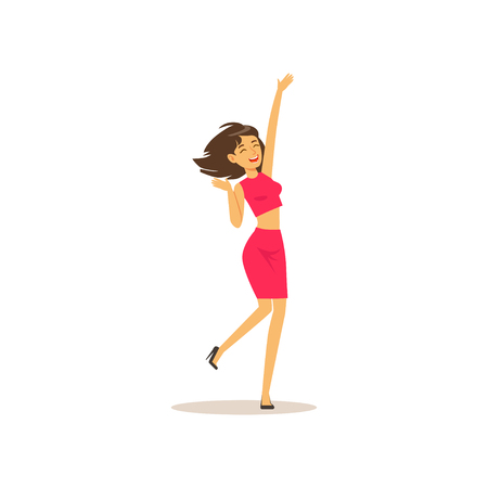 Beautiful brunette girl in dancing move. Cheerful female character having fun at party. Woman dancer dressed in pink skirt and shirt. Isolated flat vector Illustration
