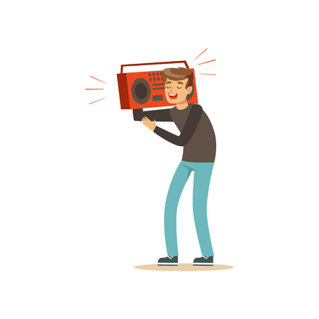 Cheerful teenager holding recorder over on his shoulder. Young boy character having fun at party. Isolated flat vector design