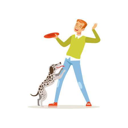Cheerful red-haired man playing flying disc with his dog. Guy having fun with pet outdoors. Cartoon male character in sweater and jeans. Domestic animal. Flat vector