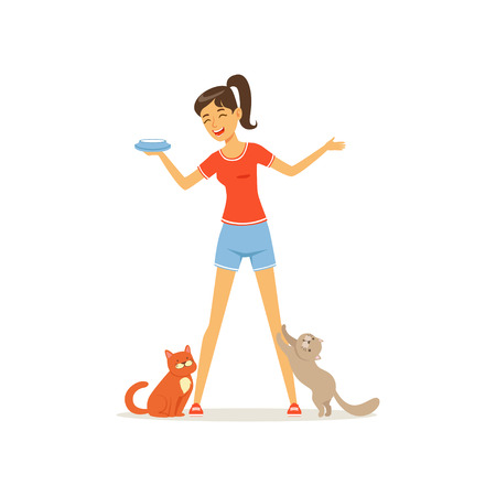 Cheerful girl feed kittens milk. Young woman caring of her pets. Female character in t-shirt and shorts. Human and animal friendship. Flat vector design Illustration