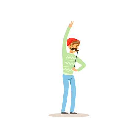 Cheerful hipster holding funny mustache on stick. Masquerade, birthday or bachelor party. Cartoon young man character having fun. Isolated flat vector Illustration