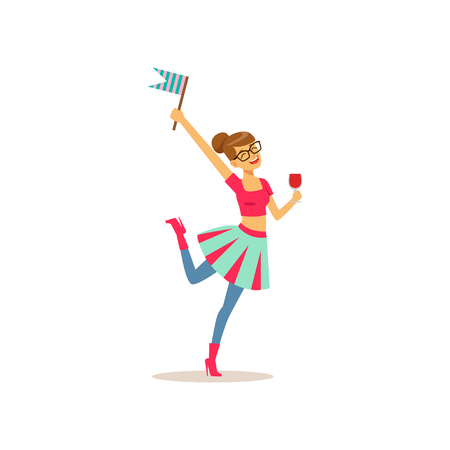 Young girl having fun at college party. Teenager holding glass of drink and little flag. Cartoon character in glassed and bright clothes. Isolated flat vector