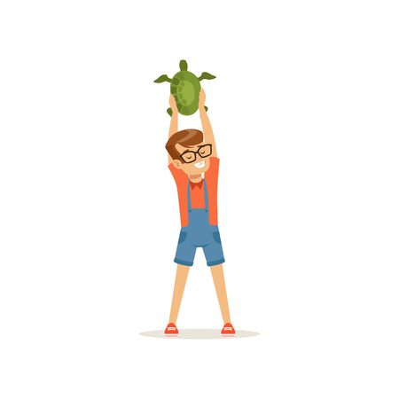 Smiling boy holding green turtle over his head. Little kid having fun with tropical pet. Domestic animal. Child in glasses, t-shirt and overall shorts. Flat vector design