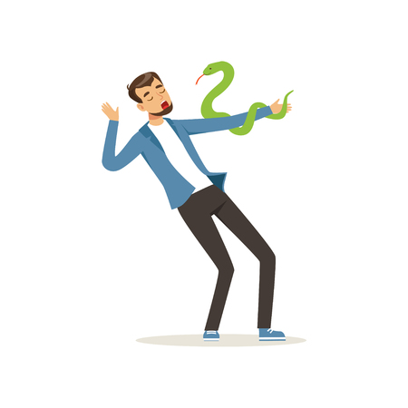 Male character with serpent pet on his hand. Young man with exotic snake. Carnivorous reptile. Bearded guy in blue jacket and black pants. Flat vector design