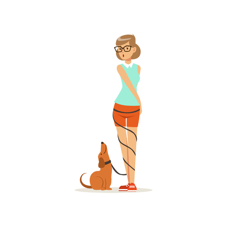 Pretty girl standing with happy dog, leash wrapped around her legs. Young woman in glasses, blouse and shorts. Domestic animal. Human best friend. Flat vector design