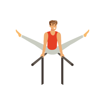 Professional male gymnast training on parallel bars. Cheerful strong man character in sportswear. artistic gymnastics. Isolated flat vector