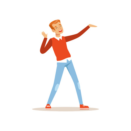 Red-haired man dancing with cheerful face expression. Cartoon male character having fun at party. Dressed in sweater and jeans. Flat vector design