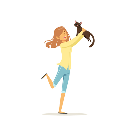 Cute brunette girl holding brown cat in hands. Young woman adopt kitten out of animal shelter. Design for pet shop or veterinary clinic. Flat vector Stock Vector - 90786604