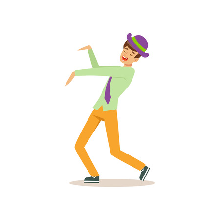 Young guy in dancing move. Party lifestyle. Man having fun on dance floor. Cartoon male character. Isolated flat vector Illustration