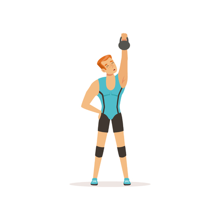 Strong man lifting weight above his head. Muscular guy in blue sportswear. Young sportsman training in gym.  Isolated flat vector Illustration