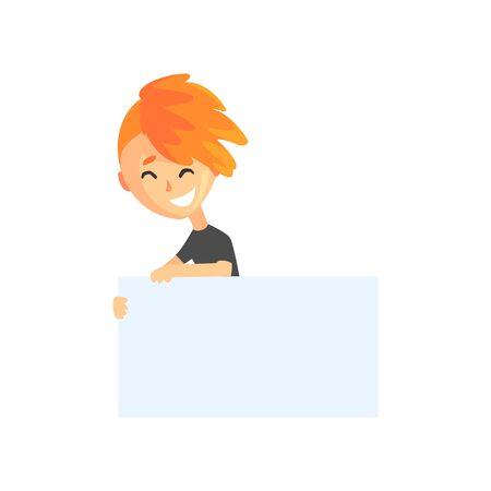 Cartoon teenager boy holding white sign with space for text. Cheerful red-haired kid in black t-shirt. Child showing piece of blank paper. Isolated flat vector
