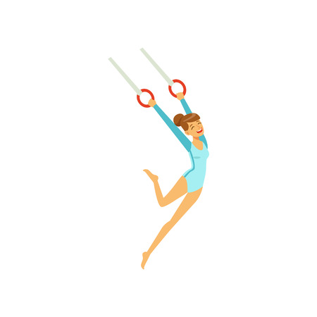 Young girl doing exercises, using flying rings. Artistic gymnastics. Cartoon sportswoman character in gymnast suit show athletic skill. Isolated flat vector