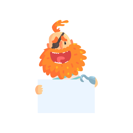 Cheerful pirate with red beard and eye patch holding white sign in hands. Cartoon man character. Isolated flat vector. Banner with place for text