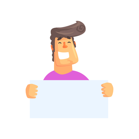 Handsome man with empty poster. Cartoon smiling character with Elvis hairstyle and broad smile. Isolated flat vector. Colorful element for sticker or web advertising