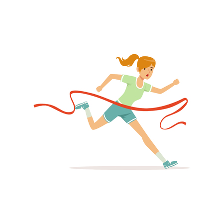 Female athlete taking part in running marathon. Woman character cross finish line. Girl runner in shorts and t-shirt. Isolated flat vector Illustration