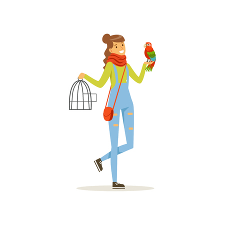 Cheerful girl holding iron cage, macaw parrot sitting on her hand. Full length portrait of young woman with colorful bird. Best friends concept. Domestic animal. Isolated flat design vector character. Illustration