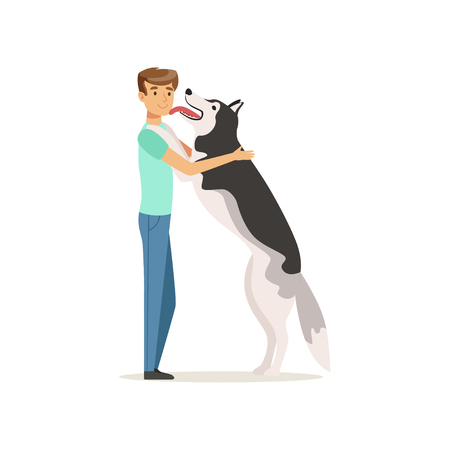 Happy dog licking man s face. Guy having fun with Siberian Husky. Doggy meets owner after long time. Domestic animal. Human s best friends. Flat vector