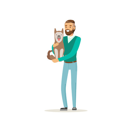 Handsome bearded man holding cute dog on hands. Cartoon male character with happy face expression in casual clothes. Human s best friends. Flat vector design