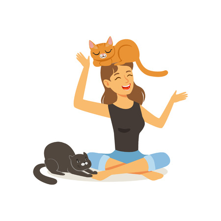 Laughing young woman sitting with legs crossed. Red cat on girl s head, black cat next to hostess. Female character having fun with kittens. Domestic animal. Flat vector Illustration