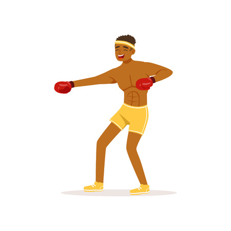 Cartoon black man in protective gloves. Professional male boxer in fighting pose. Strong sportsman character. Boxing training. Combat sport. Isolated flat vector Illustration