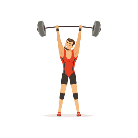 Professional athlete holding barbell above his head. Strong man character in red lifter suit. Weightlifting, cross fit or competition sport game. Isolated flat vector
