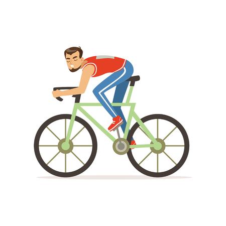 若いサイクリストの男は、自転車レースの競争に参加します。サイクルスポーツ。スポーツウェアで漫画ひげ男のキャラクター。孤立したフラット