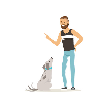 Handsome man teaching his dog to sit. Bearded guy character in sport pants and t-shirt. Human s best friends. Domestic animal. Flat design vector