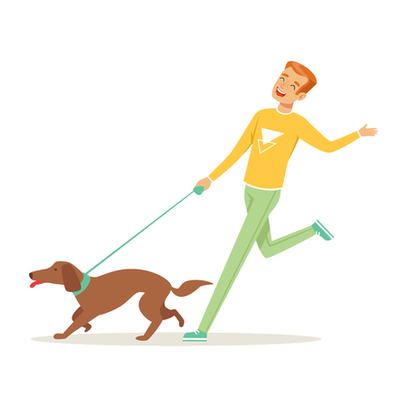 Happy young man running with dog outdoors. Human s best friends. Healthy lifestyle. Domestic animal. Cartoon male character in sweater and pants. Flat vector