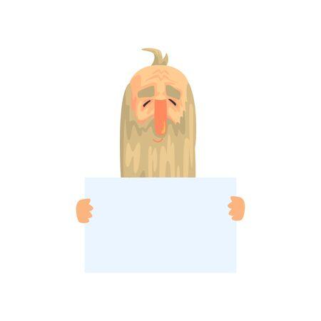 長いあごひげを持つ老人は白い上に白い紙を手にして孤立した。フラットなスタイルで面白い祖父のキャラクター。テキストの場所を含むベクター