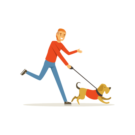 Happy red-haired man with dog on morning jogging. Young guy with stylish haircut in casual clothes. Male character having fun with pet. Human best friend. Flat vector