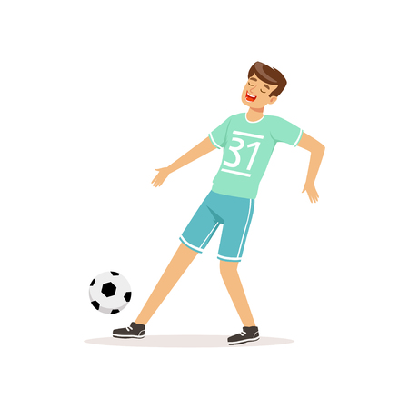 Cheerful football player kicking ball. Professional soccer sportsman in uniform shorts and t-shirt with number. Team sport. Athlete in action. Isolated flat vector Illustration
