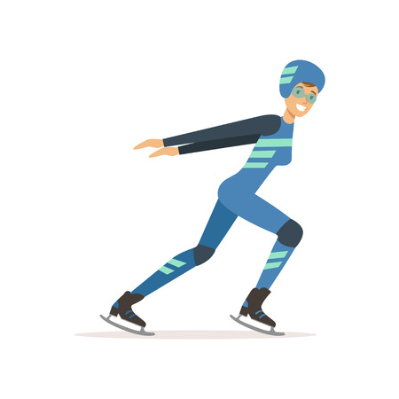 Girl athlete taking part in speed skating competition.  Woman in professional outfit glasses, overalls, helmet and clap skate. Isolated flat vector Illustration