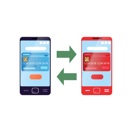 Illustration showing process of transferring money from one card to another using smartphone. Internet banking and mobile payment. Flat vector icon 版權商用圖片
