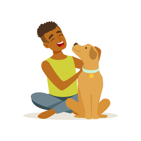 Happy teenager boy stroking friendly brown puppy. Cheerful child character sitting near his pet dog. Domestic animal Human best friend. Flat vector design