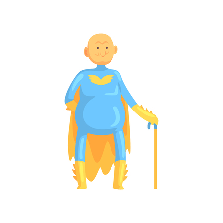 Cartoon bald and toothless old man character in costume with yellow cape, gloves and walking stick. Funny grandfather superhero in retirement. Isolated flat vector Illustration