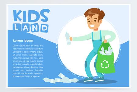 Boy gathering plastic waste for recycling, kids land banner flat vector element for website or mobile app