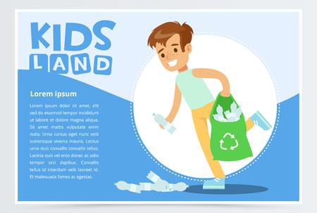 Smiling boy gathering plastic waste for recycling, kids land banner flat vector element for website or mobile app