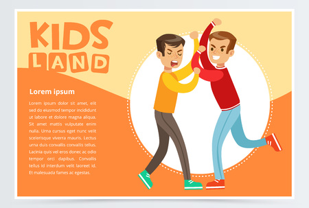 Two boys fighting each other, teen kids quarreling, kids land banner flat vector element for website or mobile app Illustration