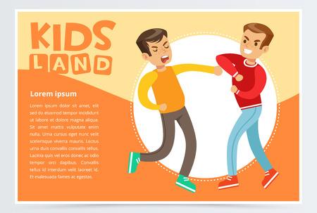 Two teen boys fighting each other, teen kids quarreling, kids land banner flat vector element for website or mobile app