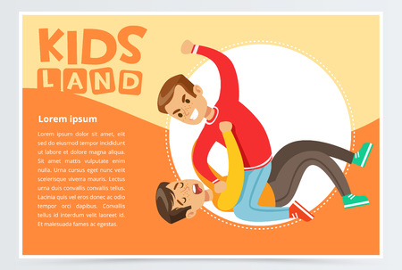 Boy lying on the floor being beaten by a teenager, teen kids quarreling, aggressive behavior, kids land banner flat vector element for website or mobile app