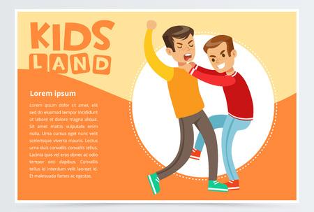 Two boys hitting each other on a fight, teen kids quarreling, aggressive behavior, kids land banner flat vector element for website or mobile app