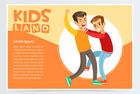 Two boys hitting each other on a fight, teen kids quarreling, aggressive behavior, kids land banner flat vector element for website or mobile app