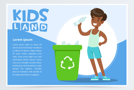 Boy throwing bottle into green container with plastic, waste recycling infographic concept, kids land banner flat vector element for website or mobile app Illustration