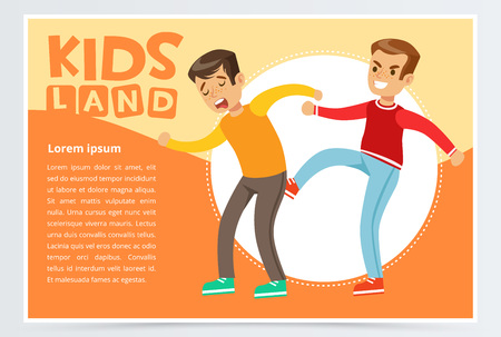 Teen boy kicking classmate, demonstration of school teenage bullying and aggression towards other child, kids land banner flat vector element for website or mobile app