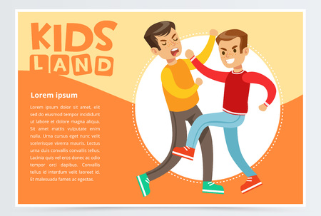 Two teen boys fighting each other, teen kids quarreling, aggressive behavior, kids land banner flat vector element for website or mobile app Illustration