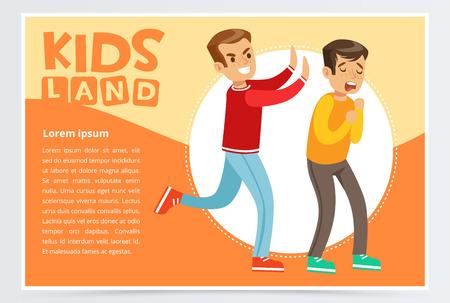 いじめ同級生、いじめ十代のデモンストレーションおよび他の子供への攻撃性、子供土地バナー フラット ベクトル要素のウェブサイトやモバイル   イラスト・ベクター素材